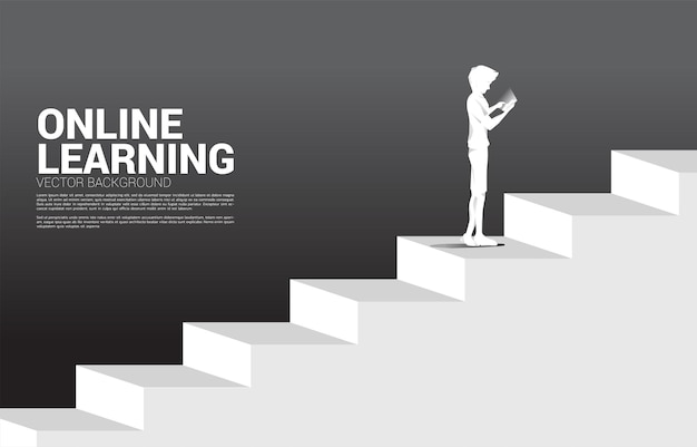 Silhouette of businessman use mobile phone standing on stair. concept of people ready to up level of career and business.