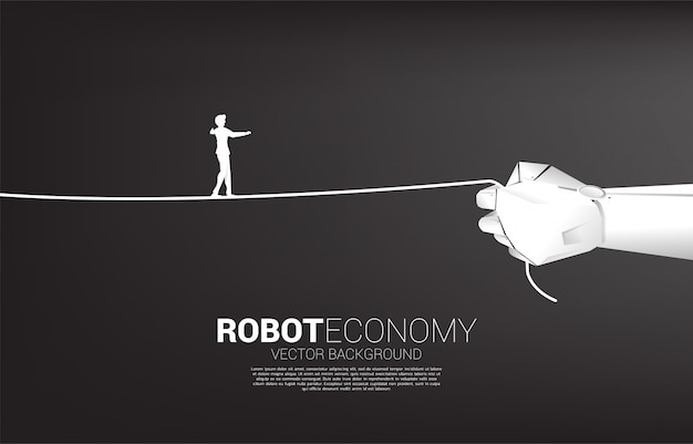 Silhouette of businessman walk rope in robot hand. concept of business challenge and career path.