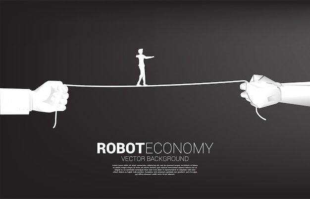 Silhouette of businessman walk rope in robot and human hand