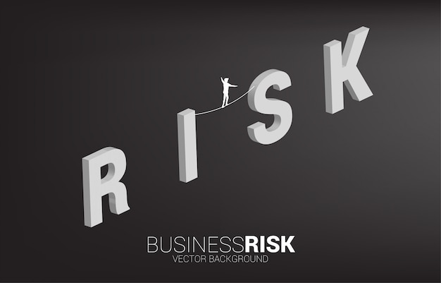 Silhouette of businessman walking on rope walk way on risk wording.concept for business risk and challenge in career path