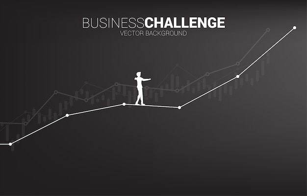 Silhouette of businessman walking on rope walk way up to growth line graph