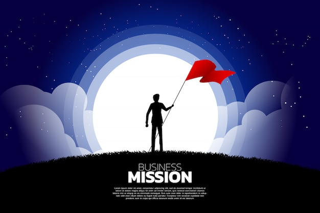 Silhouette of businessman with flag standing in the moon and star.