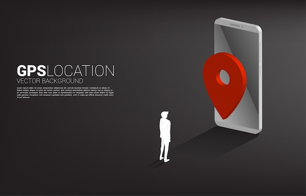 Silhouette of businessman with gps pin marker and mobile phone. concept of location and facility place , gps technology