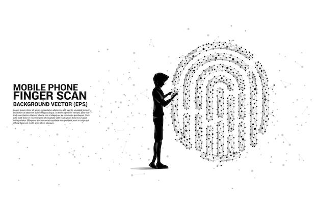Бизнесмен силуэта с мобильным телефоном, стоящим со значком отпечатка пальца от точки соединяет линию многоугольника.