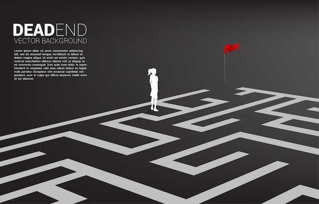Silhouette of businesswoman at dead end of maze. business concept for problem and wrong decision.