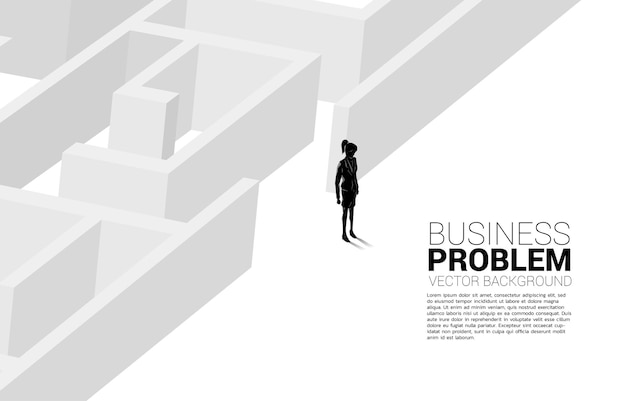 Silhouette of businesswoman at exit of the maze. business banner for problem solving and finding idea.