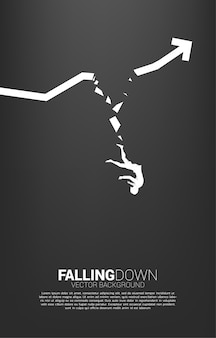 Silhouette of businesswoman falling down from broken graph. concept for fail and accidental business