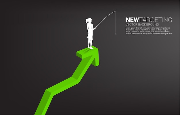 Silhouette of businesswoman fishing on top of graph. banner of targeting and bait in business.