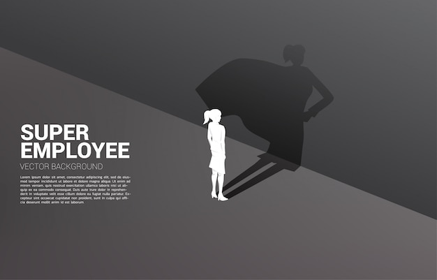 Silhouette of businesswoman and his shadow of superhero.