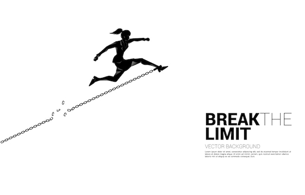 Silhouette of businesswoman jump to break the chain
