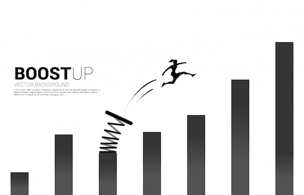 Silhouette of businesswoman jump to higher column of graph with springboard. concept of boost and growth in business.