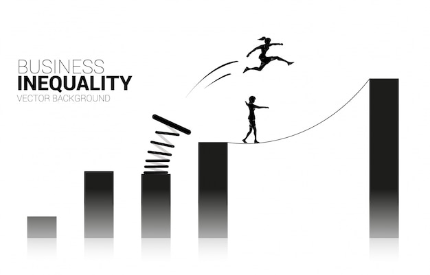 Silhouette of businesswoman jump to higher column of graph with springboard over other on rope walk. concept of boost and growth in business. business inequality.