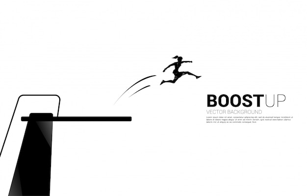 Silhouette of businesswoman jump higher with springboard. concept of boost and growth in business.