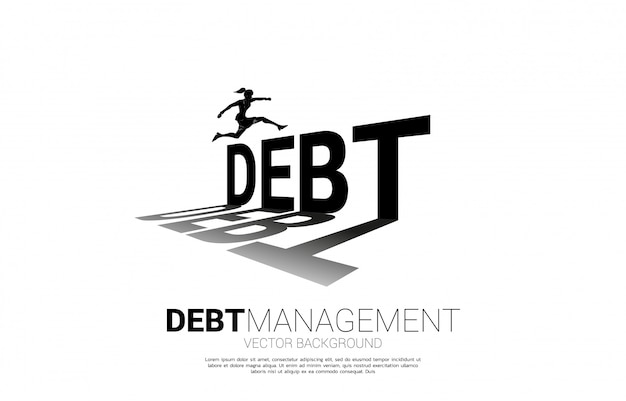 Silhouette businesswoman jumping across debt. background concept for debt management and challenge in business