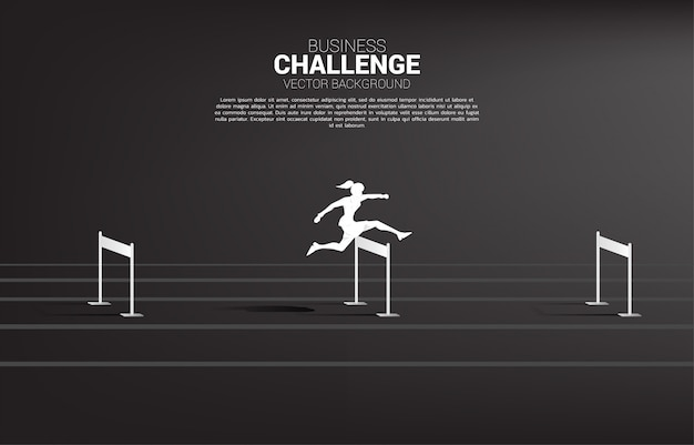 Silhouette businesswoman jumping across hurdles obstacle. background concept for obstacle and challenge in business