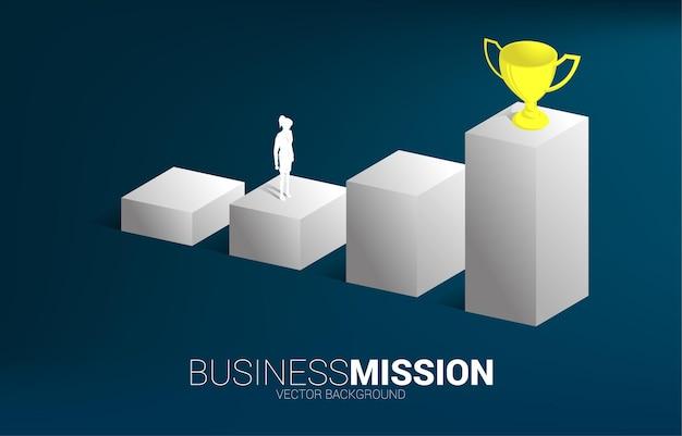 Силуэт бизнесвумен, планируя получить трофей на вершине графика
