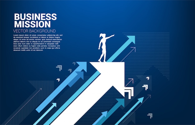 Silhouette of businesswoman point forward on moving up arrow. concept of growth business and leadership.