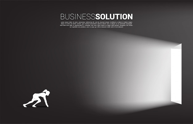Silhouette of businesswoman ready to exit a door. concept of career start up and business solution.