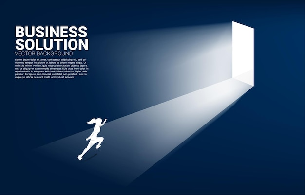 Silhouette of businesswoman running to exit door. concept of career start up and business solution.