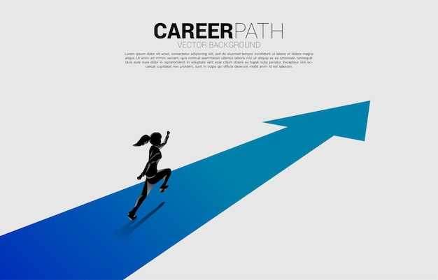 Silhouette of businesswoman running on forward arrow. concept of people ready to start career and business