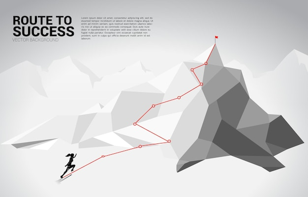 Silhouette of businesswoman running on route to the top of mountain. concept of goal, mission, vision, career path, vector concept polygon dot connect line style