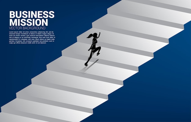 Silhouette of businesswoman running up stair. concept of people ready to up level of career and business.
