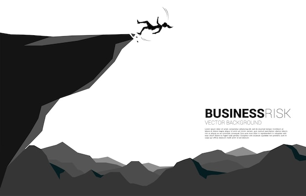 Silhouette of businesswoman slip and falling down