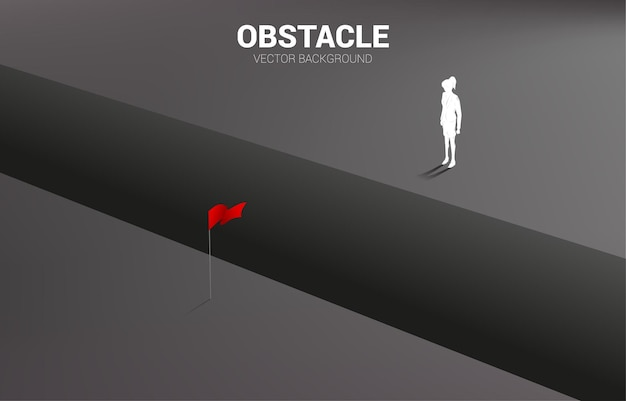 Silhouette of businesswoman standing at abyss looking to goal. concept of business challenge and obstacle