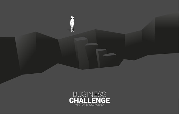 Silhouette of businesswoman standing at breach. concept of business challenge and courage man