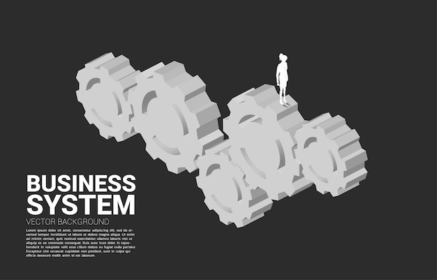 Silhouette of businesswoman standing on multiple big gear. concept of business management and control