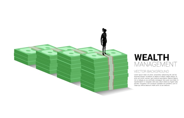Silhouette of businesswoman standing on top of growth graph with stack of banknote.