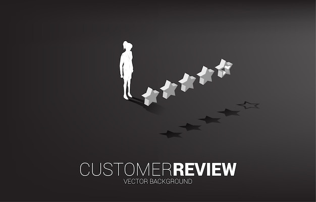 3d 고객 등급 스타와 함께 서 있는 실루엣 사업가입니다. 클라이언트 평가 및 순위에 대한 개념입니다.