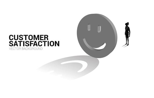 3d 미소 아이콘 등급으로 서 있는 실루엣 사업가입니다. 고객 만족도, 고객 평가 및 순위의 개념.