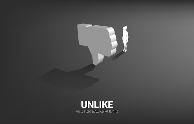 Silhouette businesswoman standing with 3d thumb down icon. concept of customer satisfaction and unlike.
