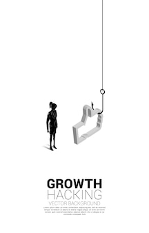 Silhouette of businesswoman standing with fishing hook with 3d like icon. concept of click bait and digital phishing.