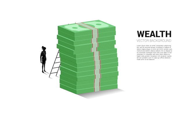 Silhouette of businesswoman standing with stack of banknote and ladder.