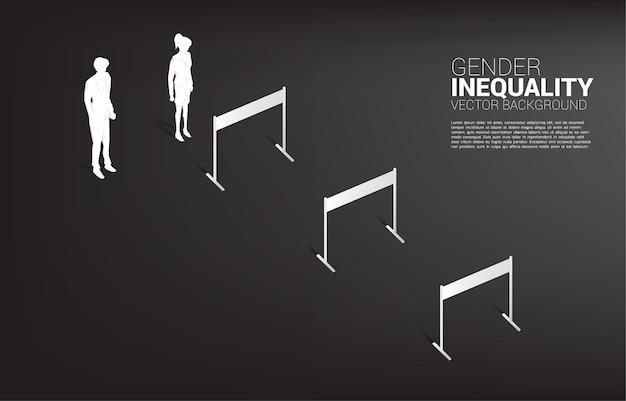 장애물 장애물 및 사업가 함께 서 실루엣 사업가. 비즈니스의 성 불평등 개념과 여성 경력 경로의 장애물