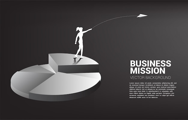 Silhouette of businesswoman throw origami airplane from top of pie chart