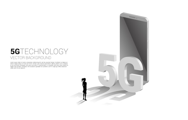 Silhouette of businesswoman touch 3d isometric 5g and mobile phone. concept for mobile phone technology and telecommunication.