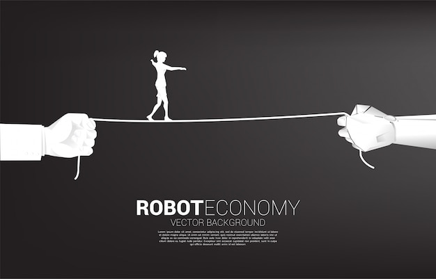Silhouette of businesswoman walk rope in robot and human hand. concept of business challenge and career path.