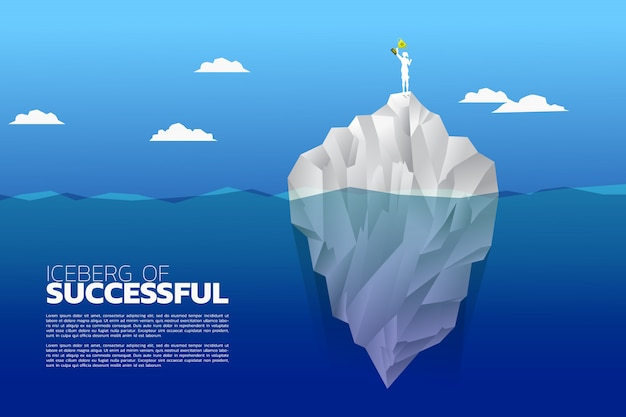 Silhouette of businesswoman with champion trophy on top of iceberg.