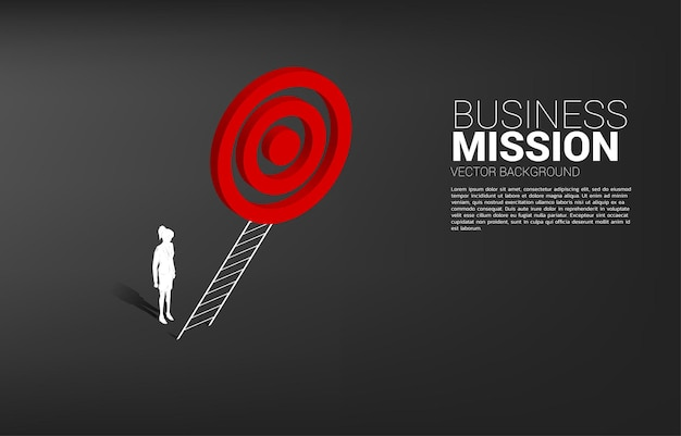 Silhouette of businesswoman with ladder to target dartboard. concept of vision mission and goal of business