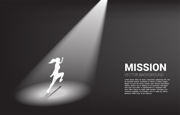 Silhouette of businesswomen running in spotlight. business concept of recruitment and highlight person