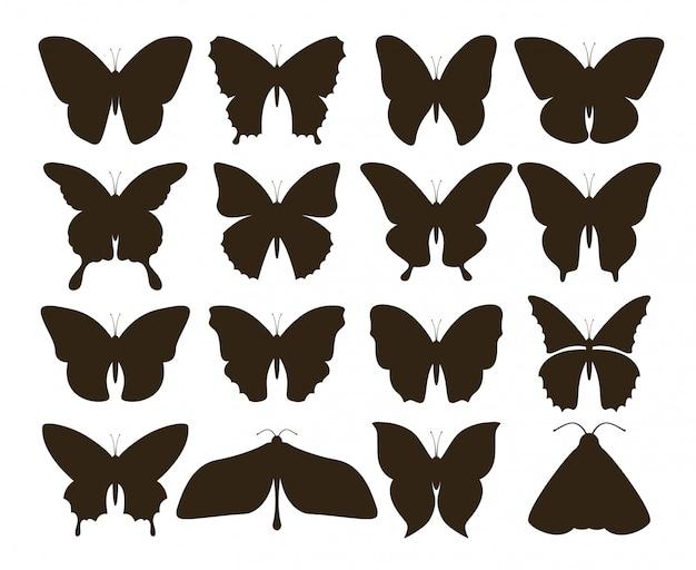 Силуэт бабочки. простое собрание нарисованных рукой черных форм татуировки, винтажный комплект насекомого мухы. рисунок бабочки