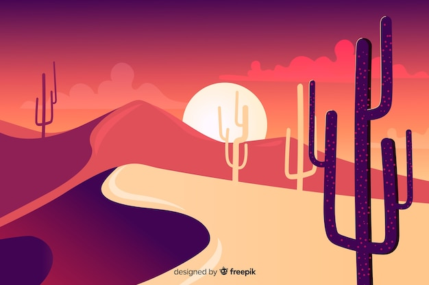Silhouette of cactus and dunes