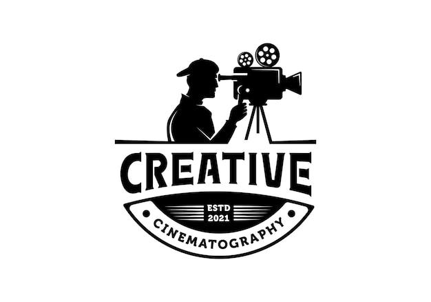 Silhouette cameraman logo movie film cinematography illustration design template inspiration