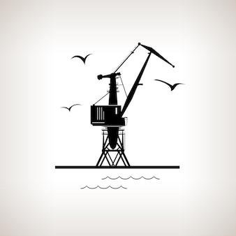 明るい背景、黒と白のベクトル図にドックのシルエット貨物クレーンとカモメ