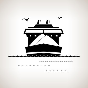 Silhouette cargo ship  , dry cargo ship on a light background , black and white  vector illustration