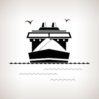 シルエット貨物船、明るい背景の乾いた貨物船、黒と白のベクトル図