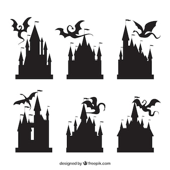 Silhouette of castle and flying dragon collection